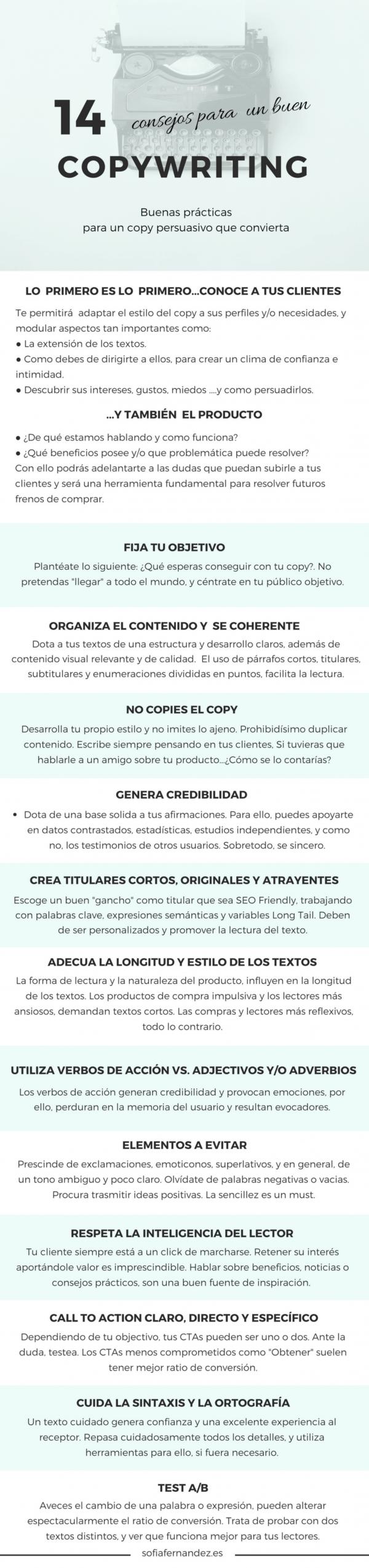 infografía consejos para crear un buen copywriting
